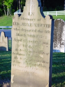 Jesse lived a long life. His many children raised many families, too. His gravestone at Wirt, Indiana, emphasizes his religious work, but a government-issued veteran's marker declares that he fought in the Revolutionary War.