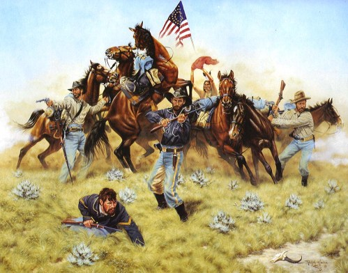 A soldier of Custer's regiment uses his Springfield carbine as a club. Source of this painting is not known.