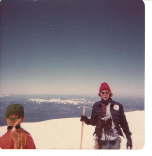 My cousin Dale displays his ice axe at the summit of Mount Adams in 1976.