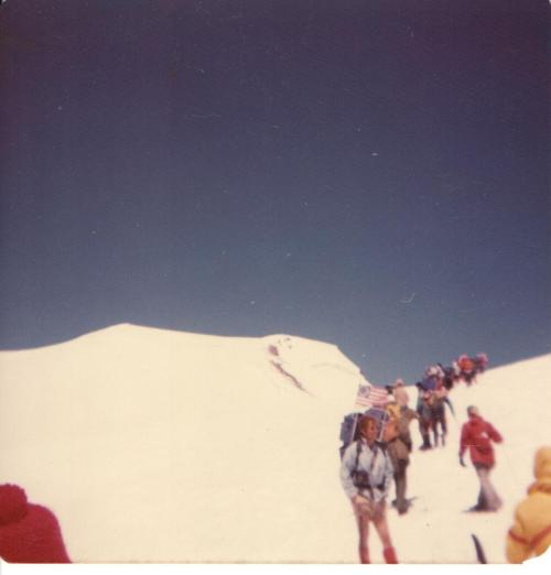 The Yakima Chamber of Commerce 1976 Bicentennial Climb brought hundreds of hikers to the top of Mount Adams.