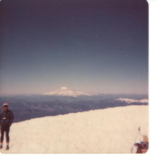 The view of Mount Saint Helens from the summit of Mount Adams on July 4, 1976.